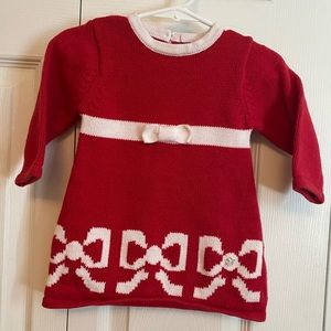 Heartstrings Red Knit Sweater Dress - White Bows